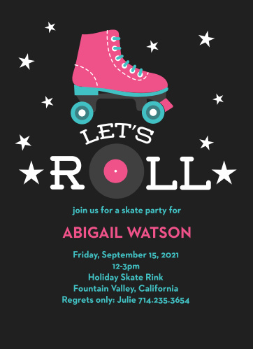 Lets Roll Childrens Birthday Party Invitations