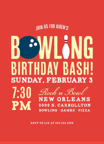 Bowling Bash Childrens Birthday Party Invitations