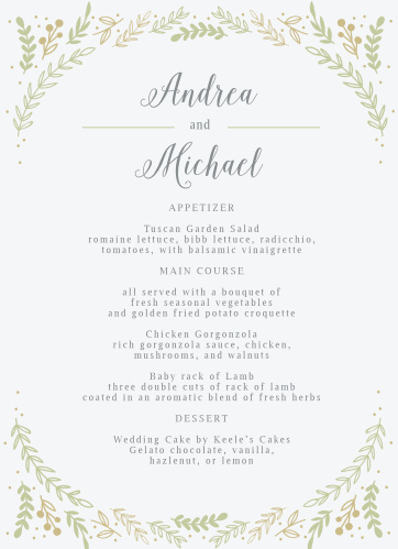 Romantic Evergreen Wedding Menus