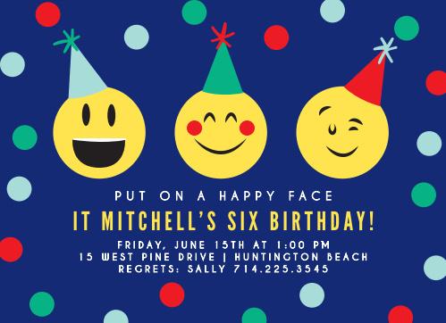 Exciting Emoji Childrens Birthday Party Invitations