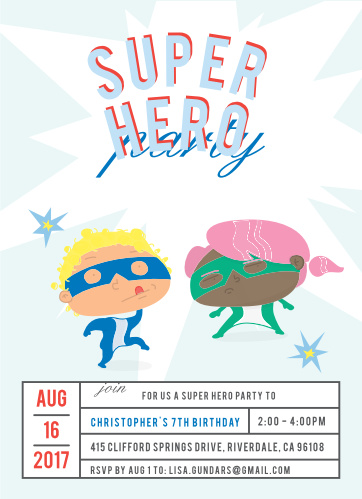 Super Hero Childrens Birthday Party Invitations