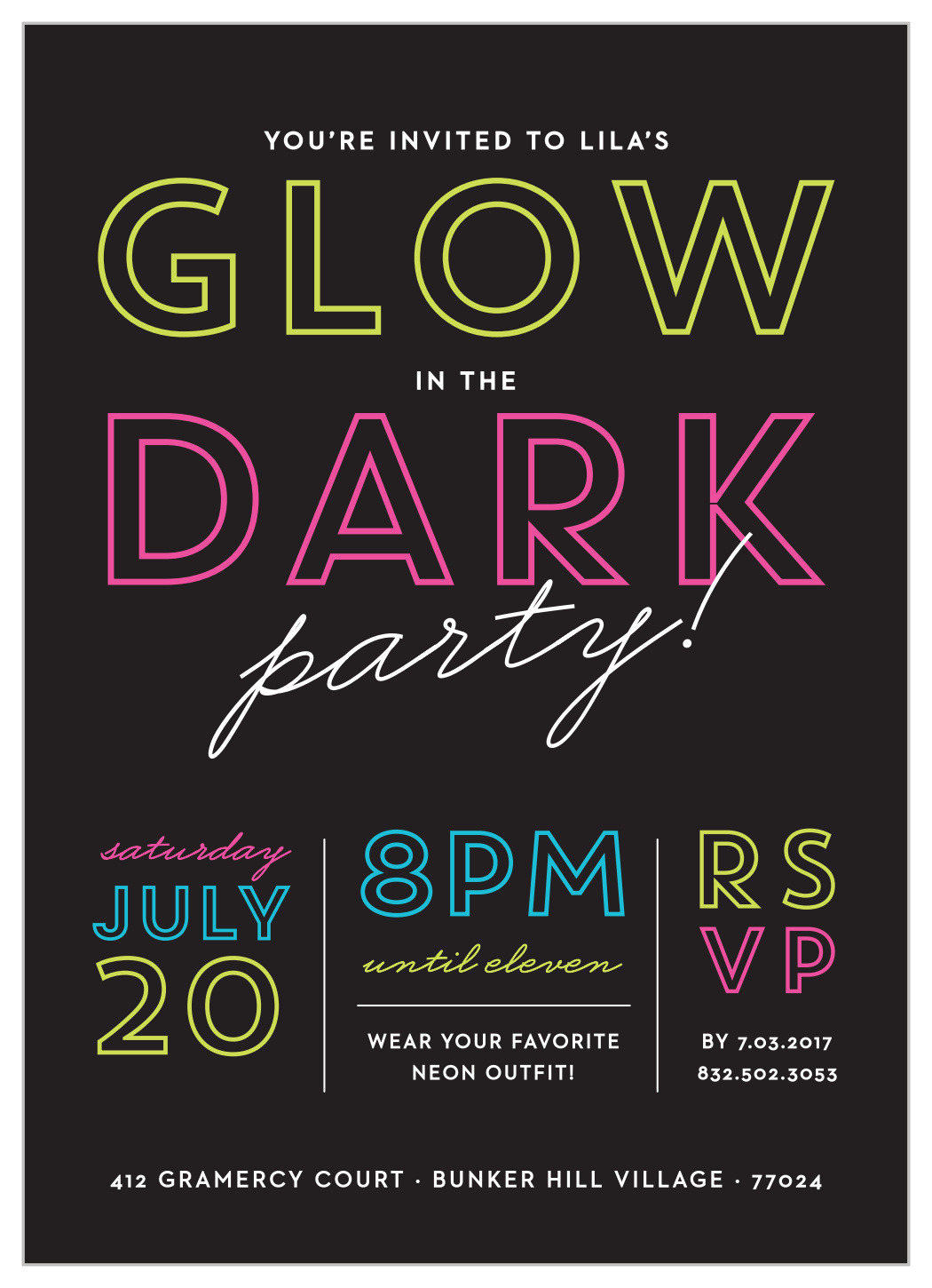 Glow In The Dark Childrens Birthday Party Invitations