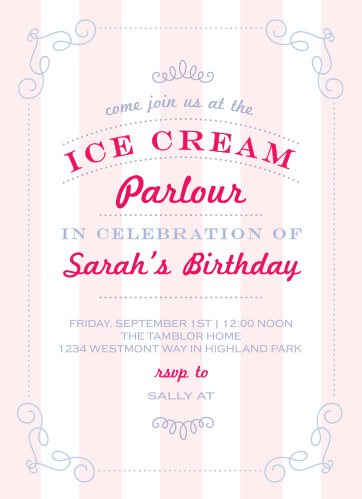 Ice Cream Parlor Childrens Birthday Party Invitations