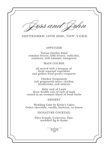 Elegant Script Wedding Menus