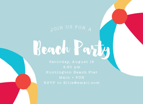 Beach Ball Bash Childrens Birthday Party Invitations