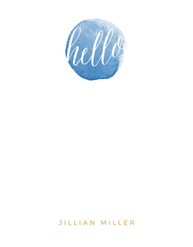 Watercolor Hello Foil Business Stationery