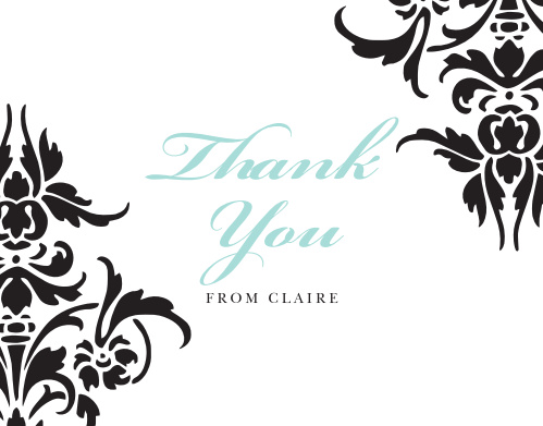 Decorative Damask Thank You Cards