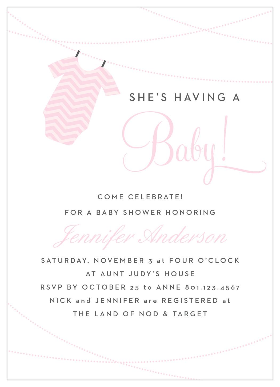 Onesie Clothesline Girl Baby Shower Invitations By Basic Invite