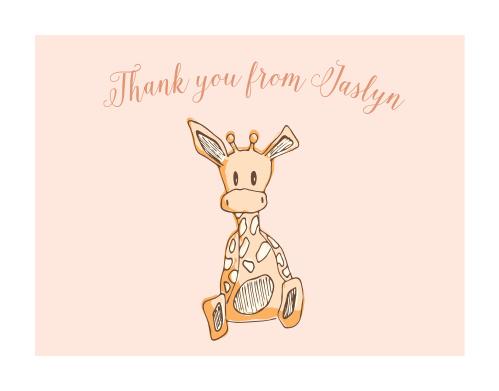 Giraffe Girl Foil Thank You Cards