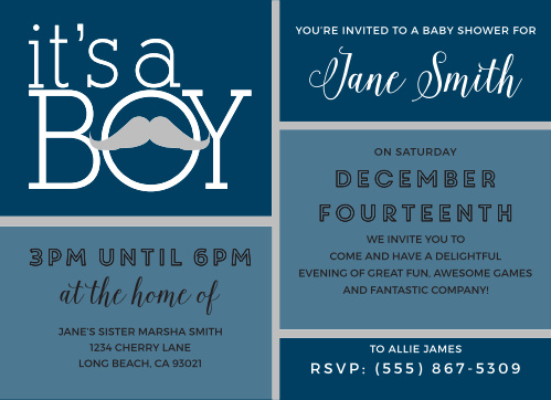 Mustache Baby Shower Invitations Match Your Color Style Free