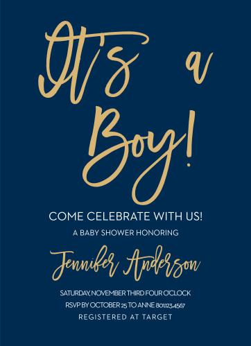 Royal Script Boy Foil Baby Shower Invitations