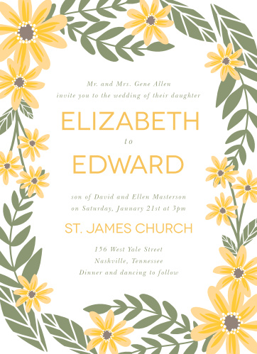 Daisy Wedding Invitations Match Your Color Style Free