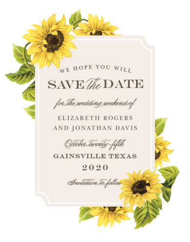 sunflower frame save the date cards