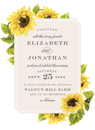 Sunflower Frame Wedding Invitations