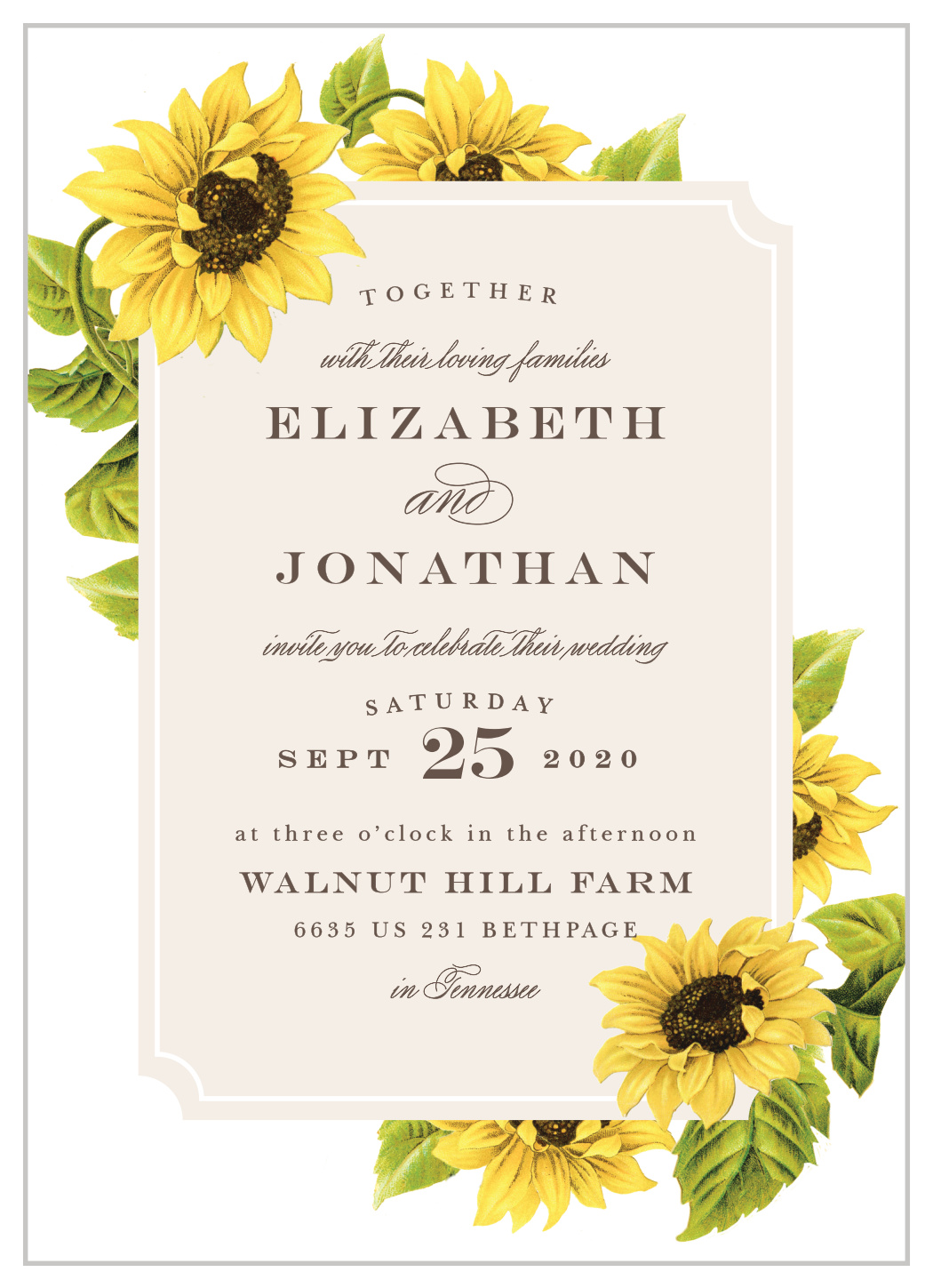 sunflower frame wedding invitations by basic invite sunflower frame wedding invitations