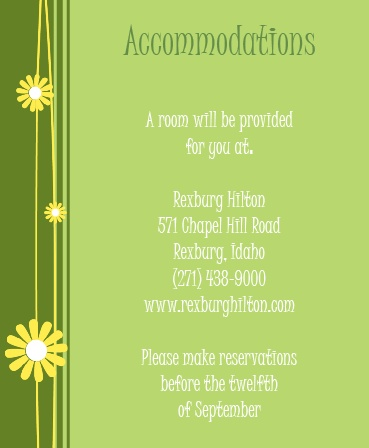 The Falling Daisies Accommodation Cards