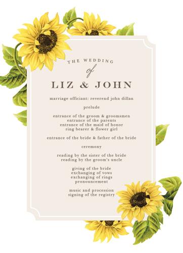 Sunflower Frame Wedding Programs