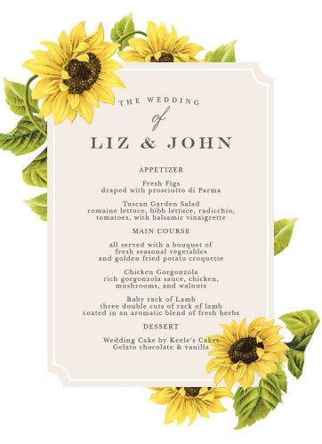 Sunflower Frame Wedding Menus