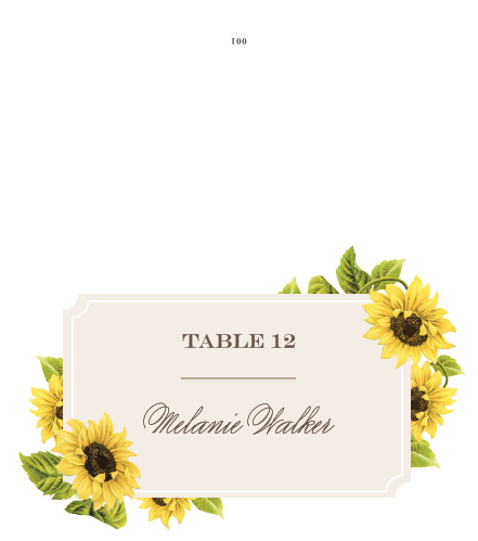 Sunflower Frame Place Cards