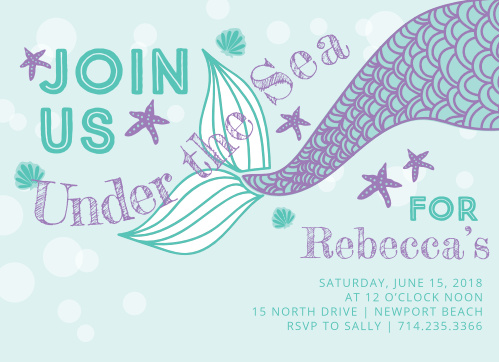 Under The Sea Childrens Birthday Party Invitations