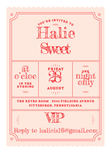 VIP Pass Sweet Sixteen Party Invitations