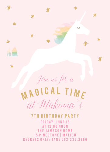 Rainbow Pony Foil Childrens Birthday Party Invitations