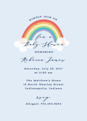 Colors Of The Rainbow Baby Shower Invitations