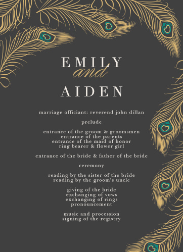 peacock wedding programs match your color style free