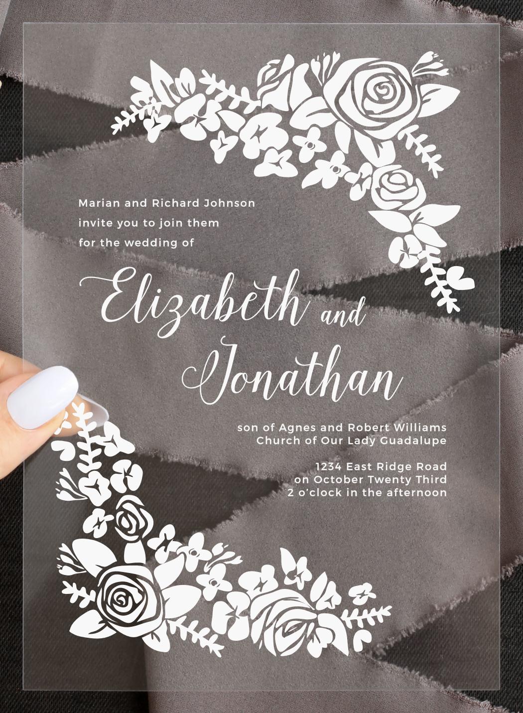 Botanical Corners Clear Wedding Invitation