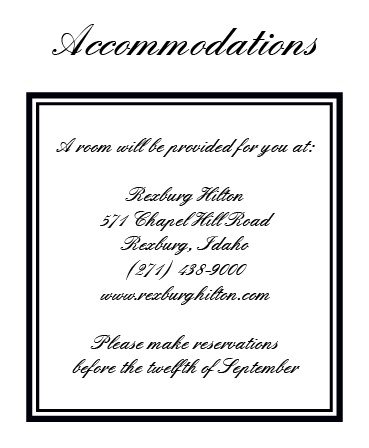 The Formal Ticket Accommodation Cards
