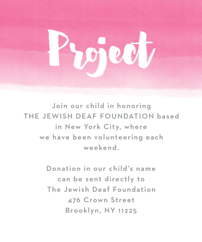 Watercolor Ombre Bat Mitzvah Project Cards