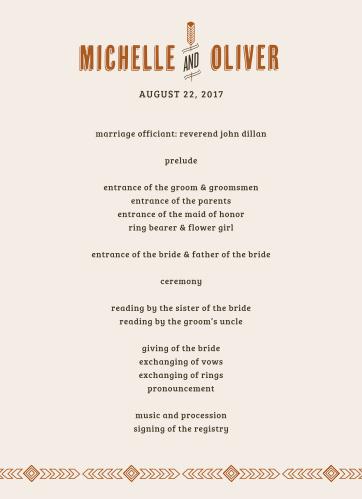 Desert Sky Wedding Programs