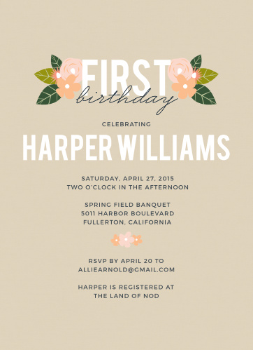 Herbaceous Babe First Birthday Invitation
