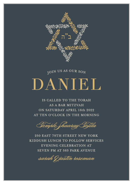 Orthodox Bar Mitzvah Invitations - Match Your Color & Style