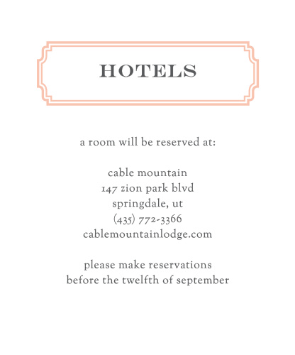 Utterly Chic Accommodation Cards