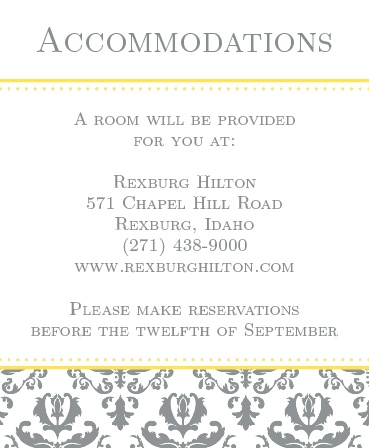 The Formal Damask Tea Accommodation Cards