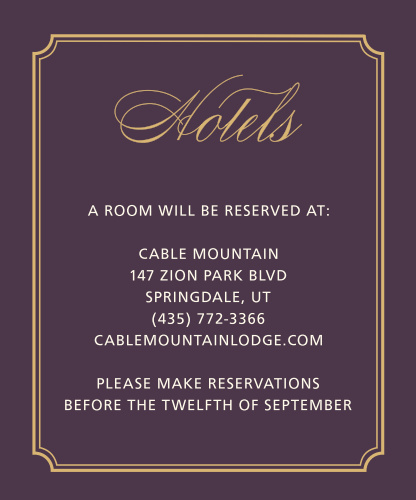 Style & Grace Foil Accommodation Cards