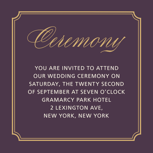 Style & Grace Foil Ceremony Cards