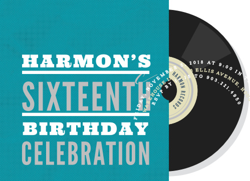 Vinyl Record Foil Sweet Sixteen Party Invitations