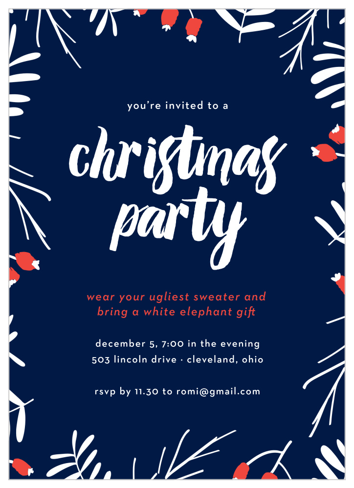 snow cherries christmas party invitations by basic invite