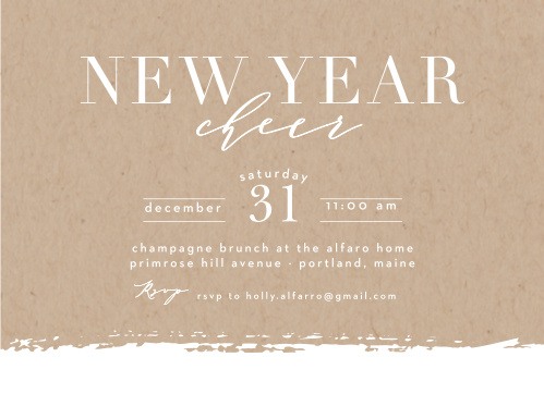 simple kraft new year party invitations