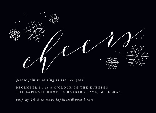 charcoal chic new year party invitations