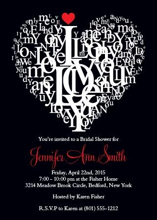 subway letter heart bridal shower invitation