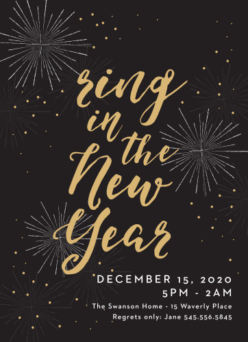festive fireworks foil new year party invitations