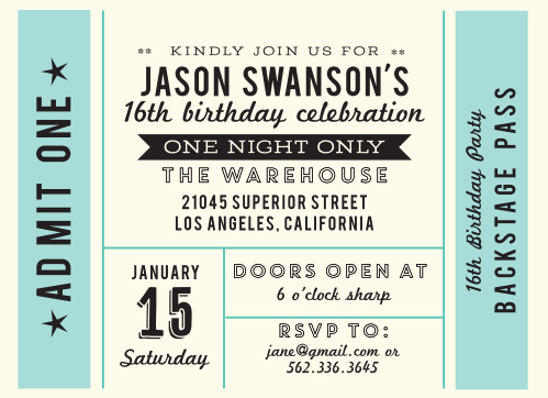 Backstage Pass Sweet Sixteen Party Invitations