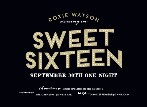 Broadway Bravo Sweet Sixteen Party Invitations