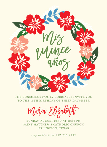 Hardy Hibiscus Quinceanera Party Invitations