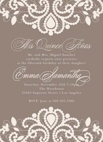 Luxurious Lace Quinceanera Party Invitations