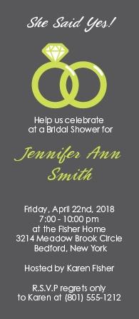 wedding ring bridal shower invitation