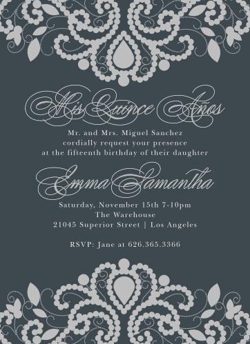 207b21898938 Luxurious Lace Foil Quinceañera Party Invitations